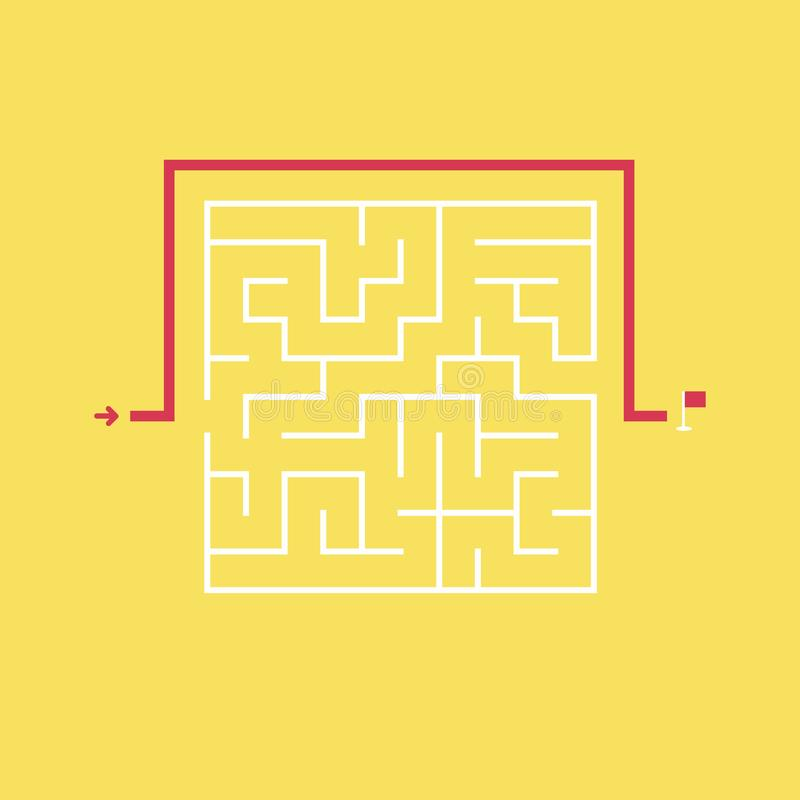Square maze and the shortcut to the exit without going through the entrance. Problem and solution concept. Flat design. stock illustration