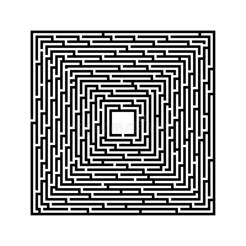 Square maze on a white background with black lines stock illustration