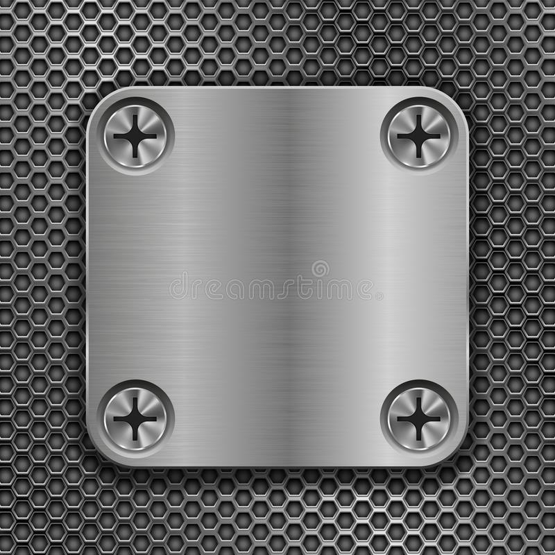 Square metal plate on perforated background. Vector 3d illustration vector illustration