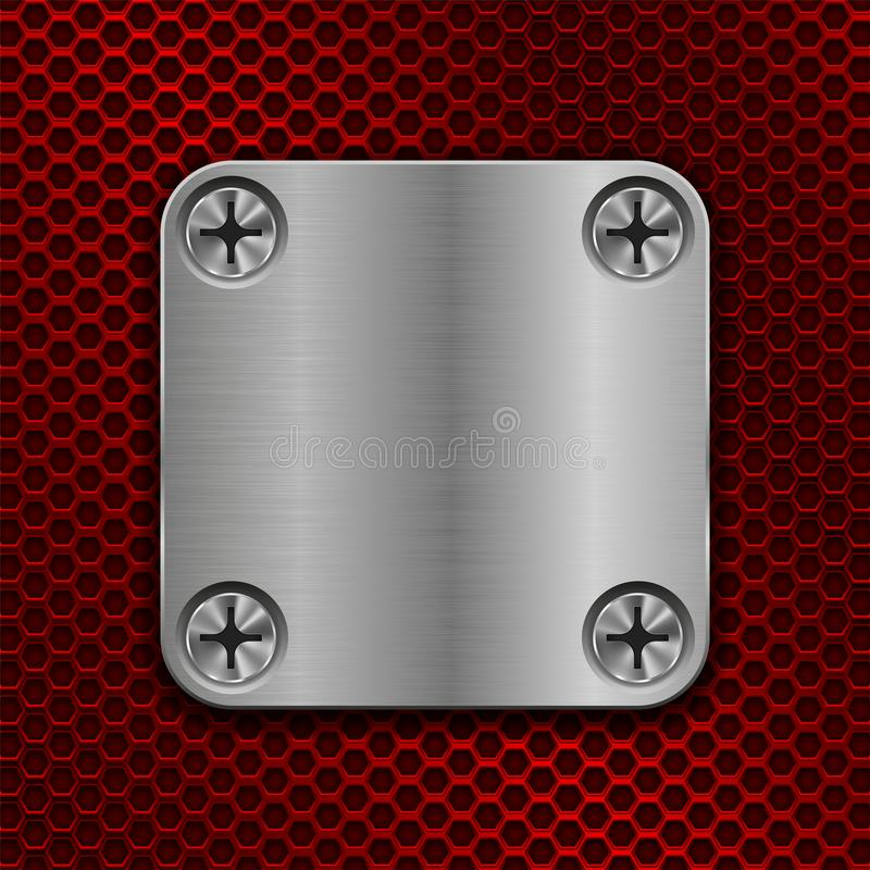 Square metal plate on red perforated background. Vector 3d illustration vector illustration