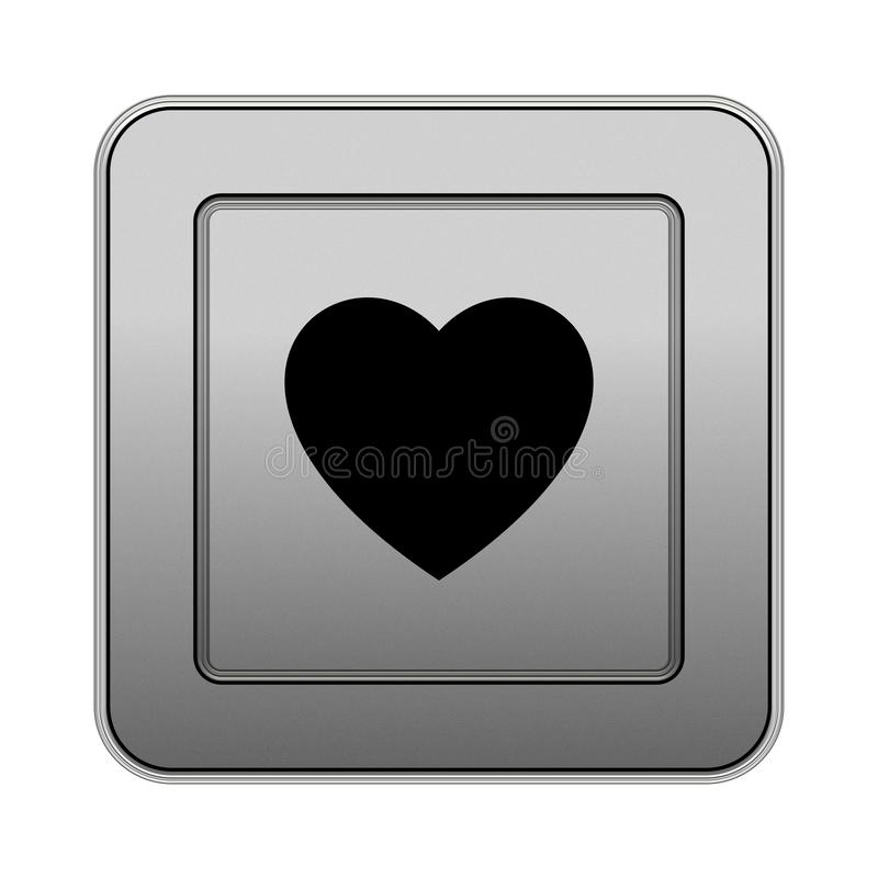 Square metallic button, heart, love metallic button vector illustration