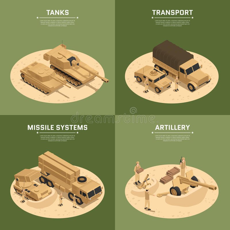 Square Military Vehicles Isometric Icon Set. Four square military vehicles isometric icon set with tanks transport missile systems and artillery headlines vector stock illustration