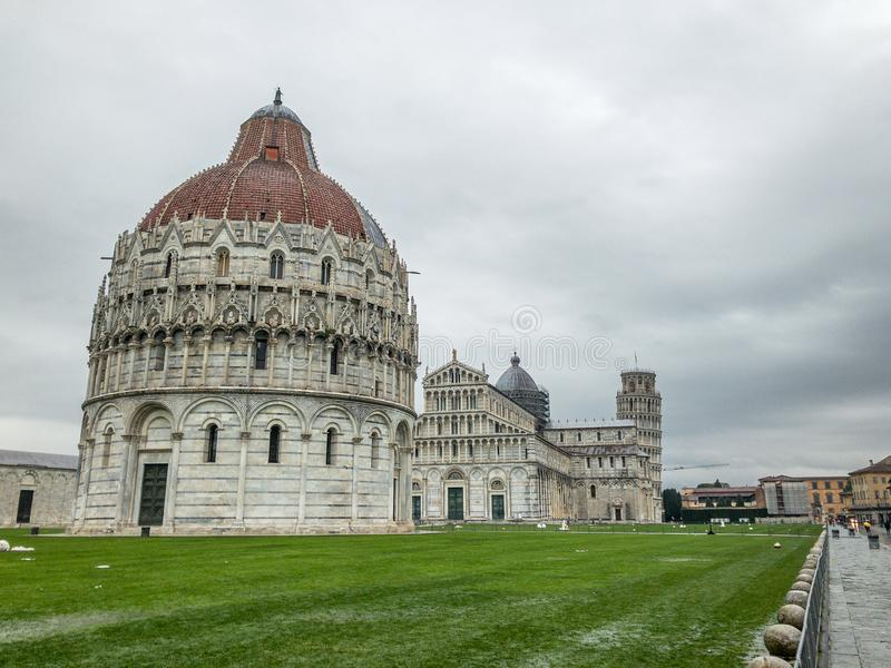 Square of Miracles on a stormy morning, Pisa, Tuscany - Italy royalty free stock photography