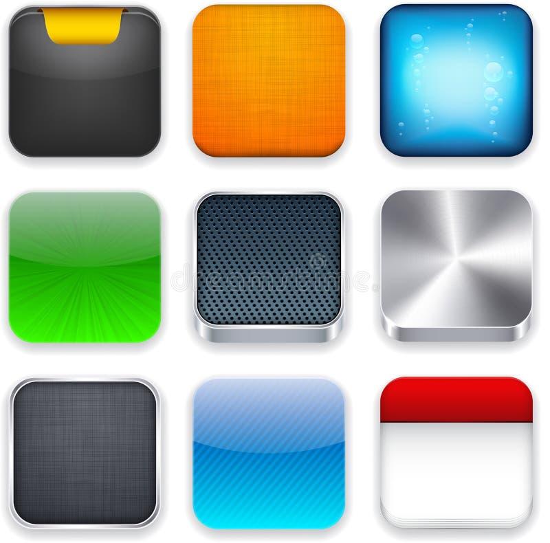 Square moderna app-mallsymboler. vektor illustrationer