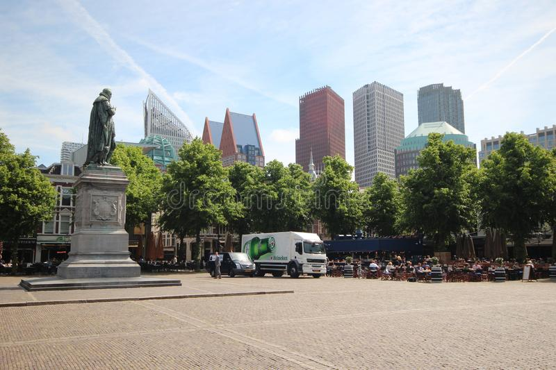 Square named Plein in the center of Den Haag in the Netherlands with statue of Willem van Oranje in the Netherlands. stock images