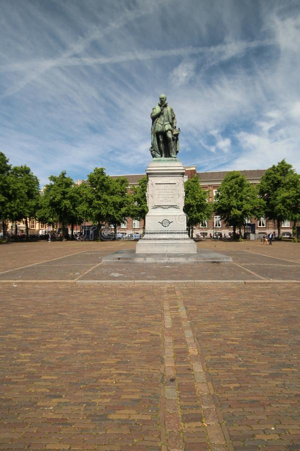 Square named Plein in the center of Den Haag in the Netherlands with statue of Willem van Oranje in the Netherlands. Square named Plein in the center of Den royalty free stock photos