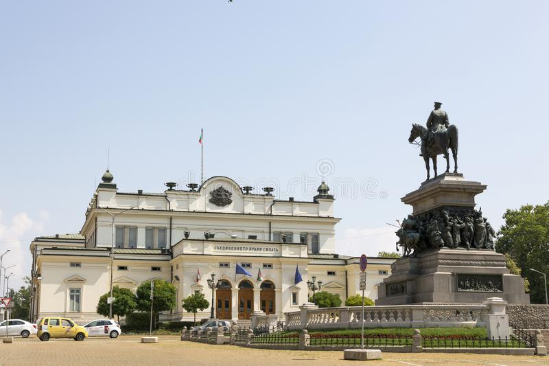The square of the National Assembly in Sofia. The building of parliament and a monument to the Tsar Liberator. stock photo