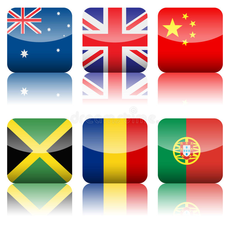 Square National Flags Icon Set Stock Images