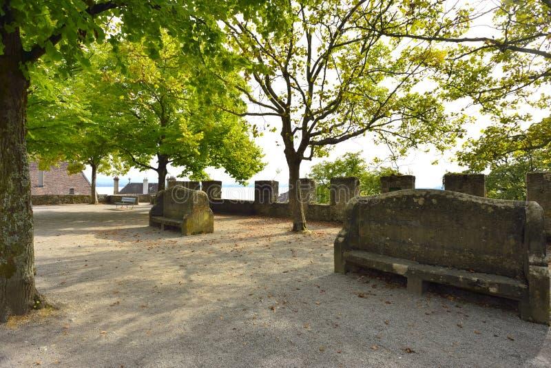 Square near the Collegial Church. Neuchatel, Switzerland stock photo