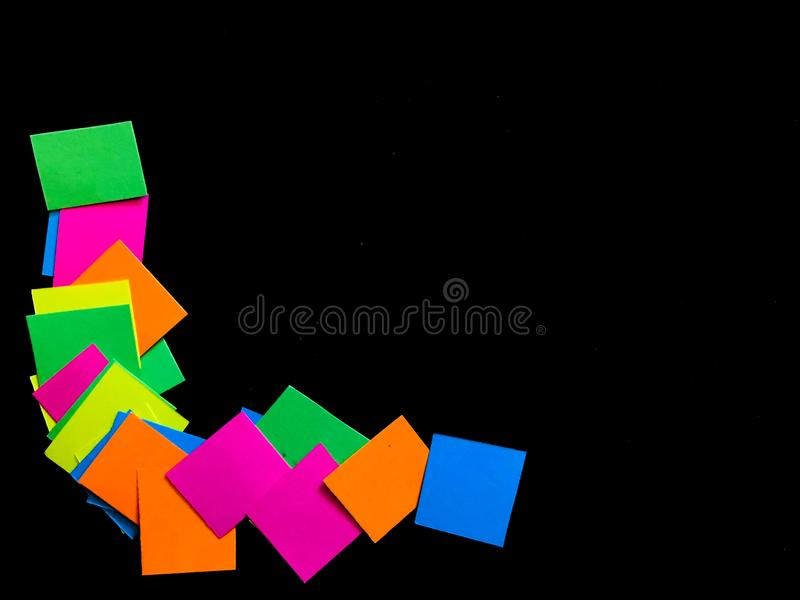 Colorful Neon Border in Left Corner on Black Background royalty free stock photography