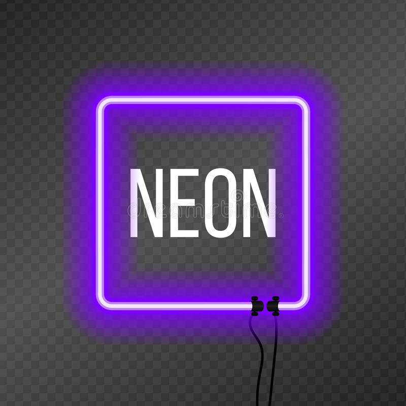 Square neon frame on transparency background. stock illustration