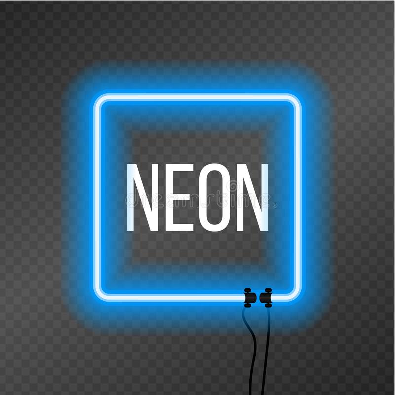 Square neon frame on transparency background. vector illustration