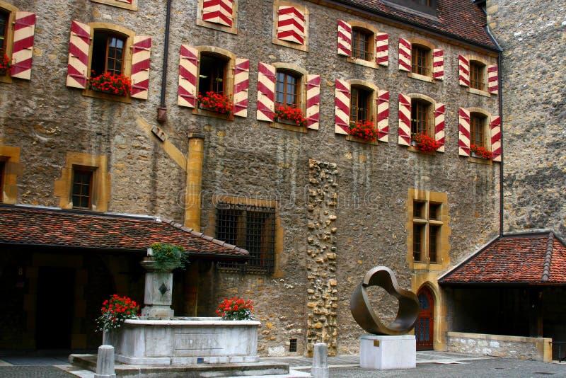 Square on Neuchatel castle, Switzeland. Old Castle in Neuchatel, Switzerland stock image