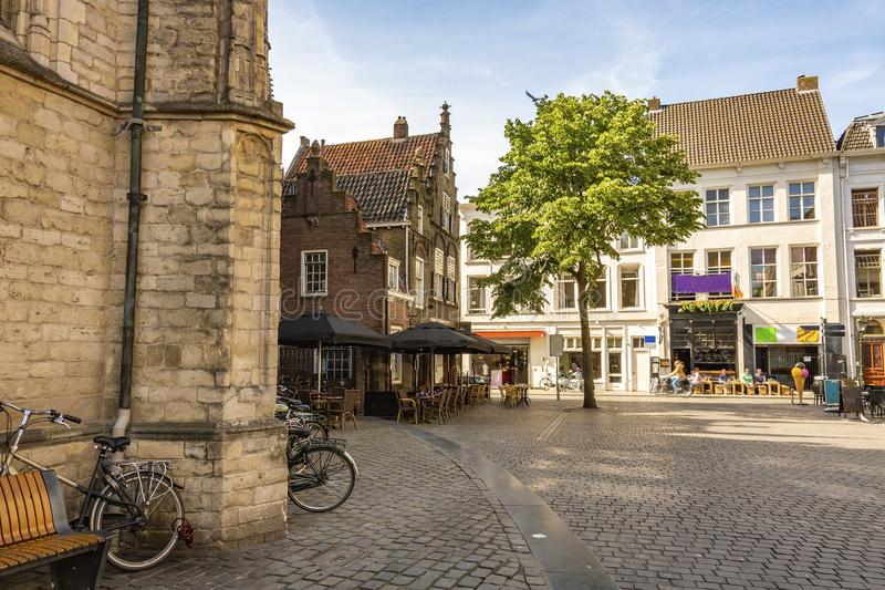 Square next to the great church of the city of breda. Netherlands Netherlands royalty free stock photography
