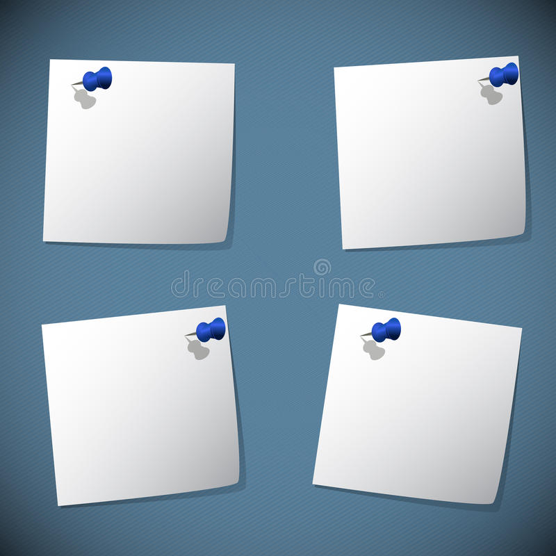 Download Square Note Papers With Blue Pin Stock Photo - Image: 32023730