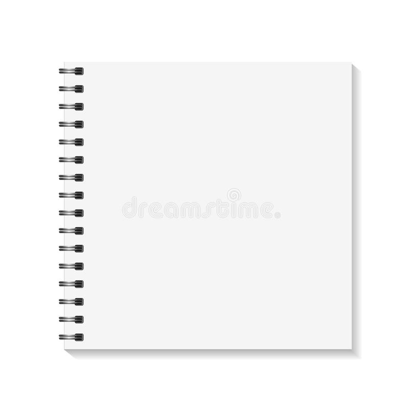 Square Notebook mockup. Empty pages book with binder metal spiral template. Isolated on white background. Vector. Illustration royalty free illustration