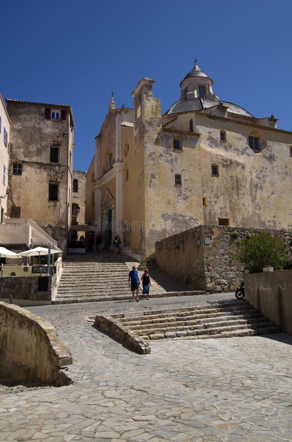 Square in old city Calvi on island Corsica,France stock photo