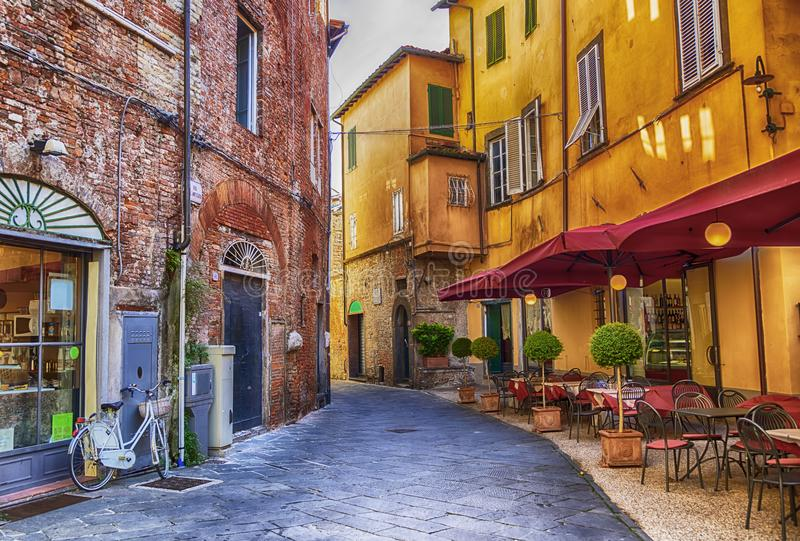 Square in old town Lucca, Italy. Siesta hour in old town Lucca, Italy stock image