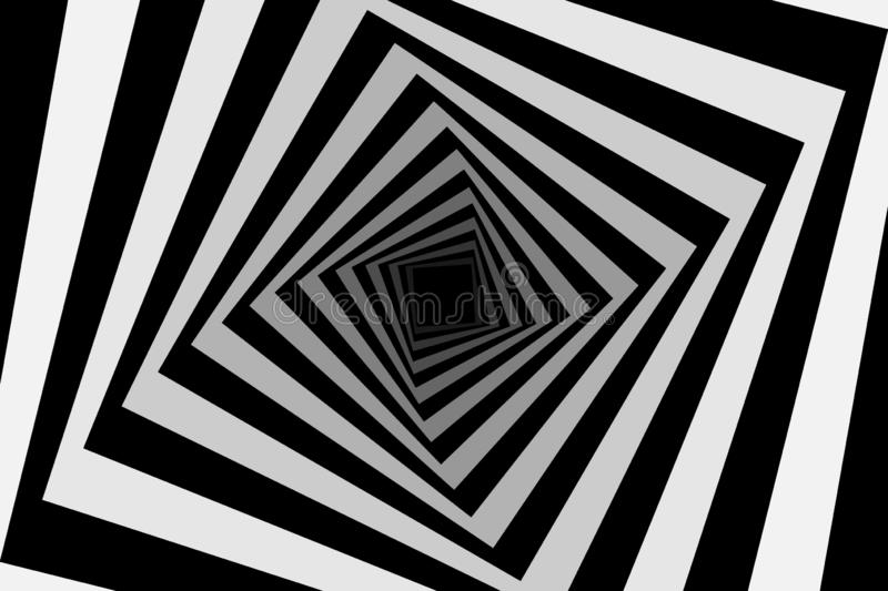 Square optical illusion pattern. Rotating concentric squares, Square optical illusion pattern - black and white, Geometric abstract background stock illustration
