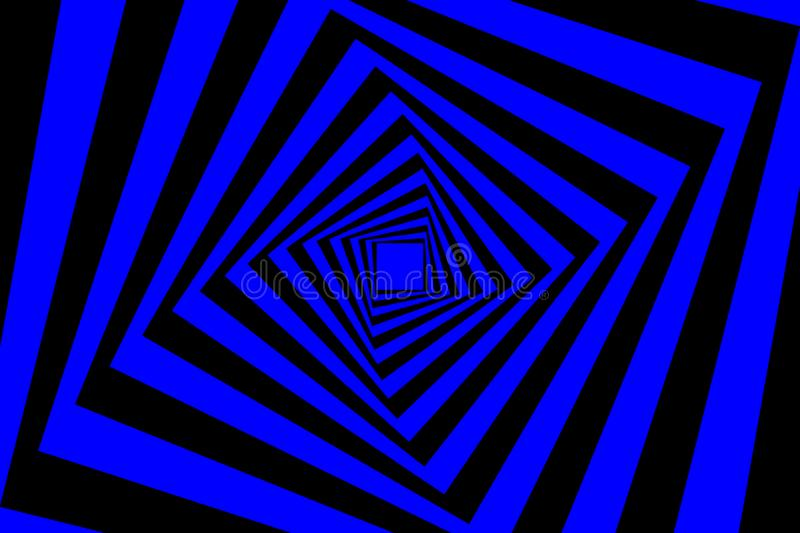 Square optical illusion pattern. Rotating concentric squares, Square optical illusion pattern - black and blue, Geometric abstract background royalty free illustration