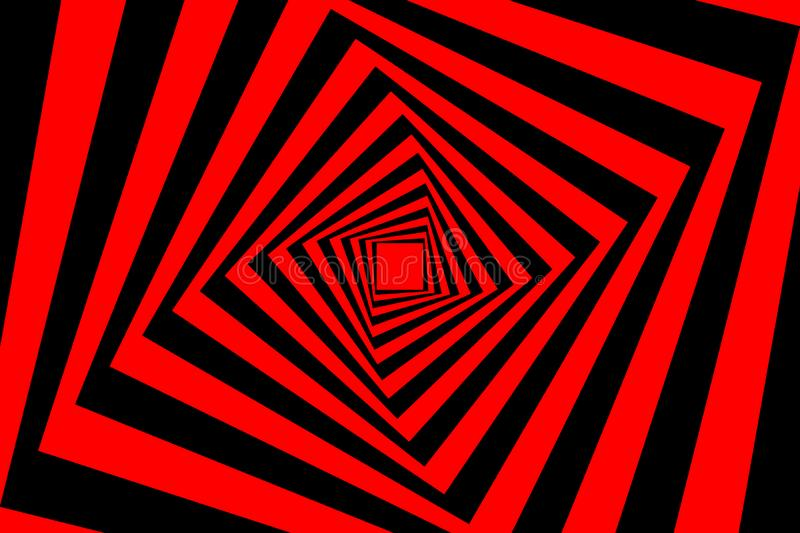 Square optical illusion pattern. Rotating concentric squares, Square optical illusion pattern - black and red, Geometric abstract background stock illustration