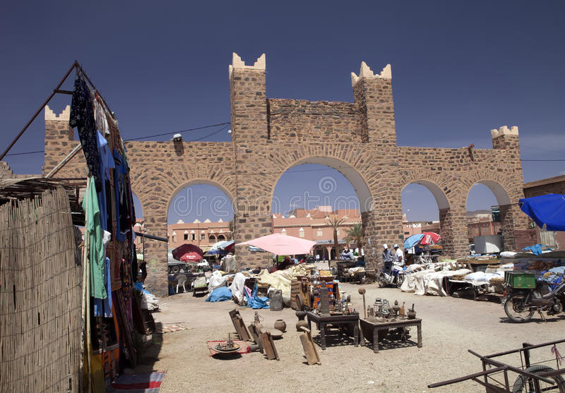 Square Ourzazate traditional marketplace, Morocco royalty free stock image