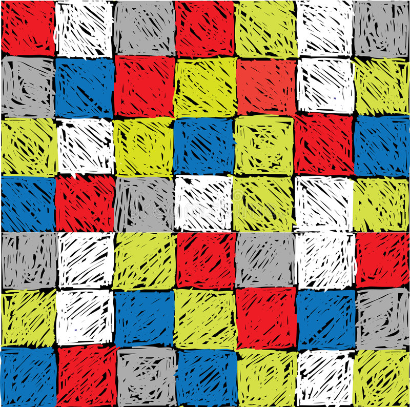 Square painted fill. The hand-drawn fill with color square. Seamless pattern vector illustration