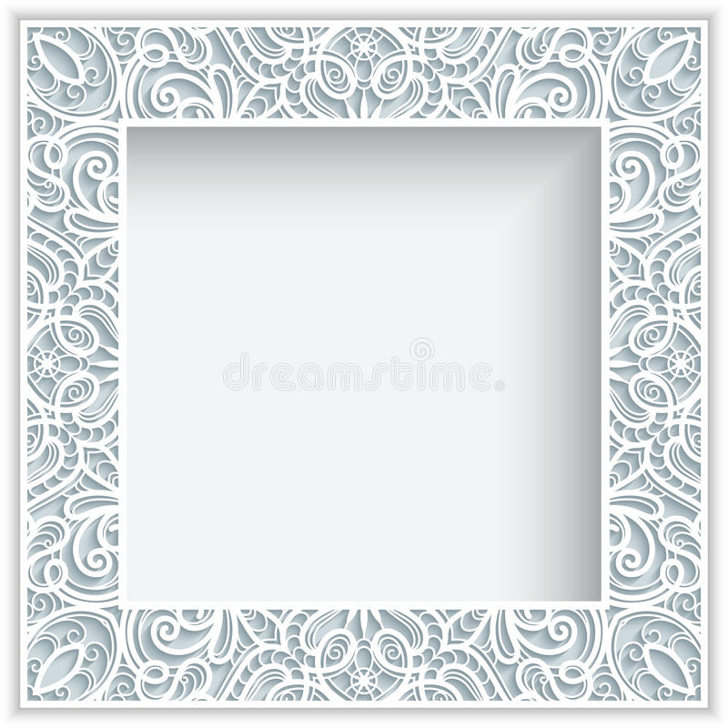 Square paper lace frame vector illustration