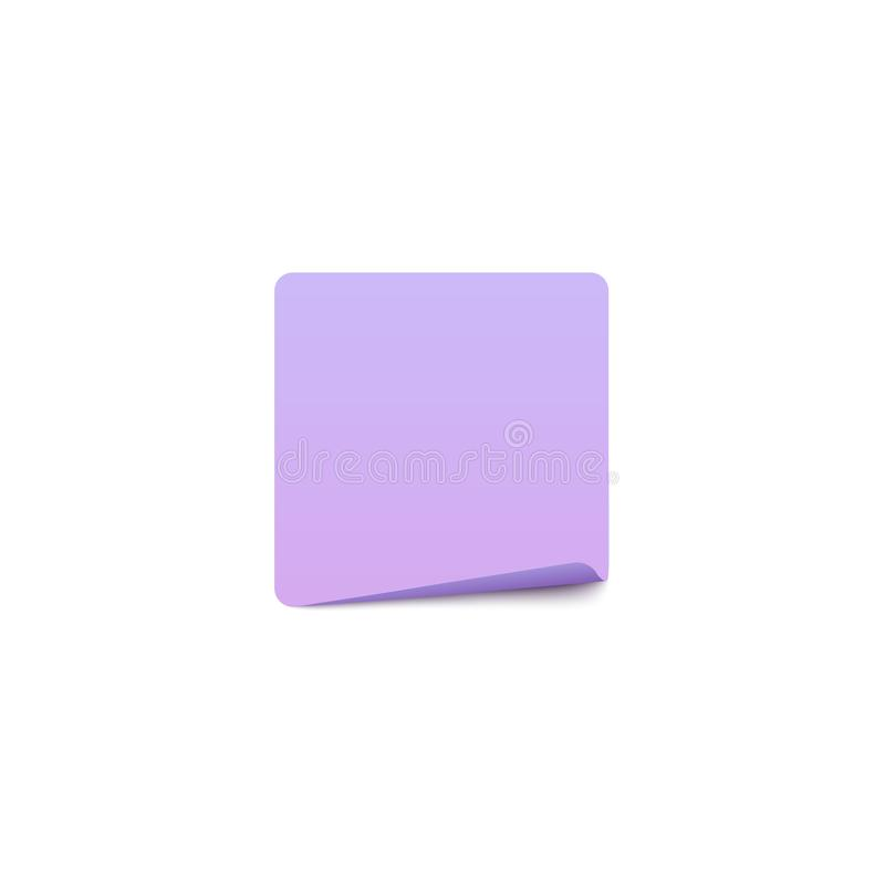 Square paper sticker with rounded corner stock illustration