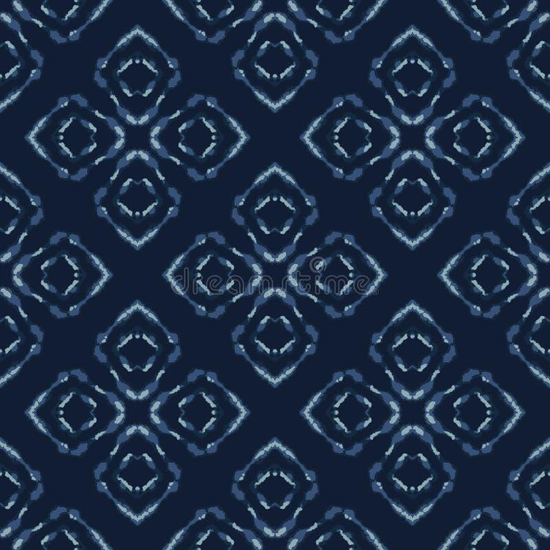 Square Patchwork Motif Japanese Style Seamless Vector Pattern. Hand Drawn Indigo stock illustration
