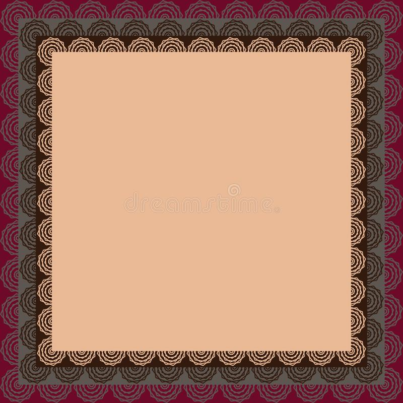 Square pattern. Background abstract geometric burgundy cream gray brown color. The form is empty with a lace border around the royalty free illustration