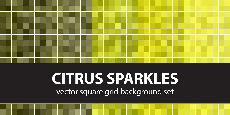 Square pattern set Citrus Sparkles. Vector seamless geometric ba royalty free illustration