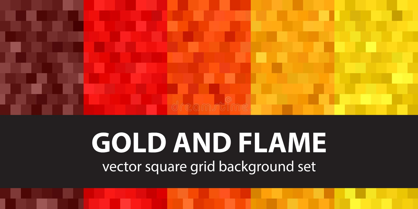 Square pattern set Gold and Flame. Vector seamless geometric backgrounds vector illustration