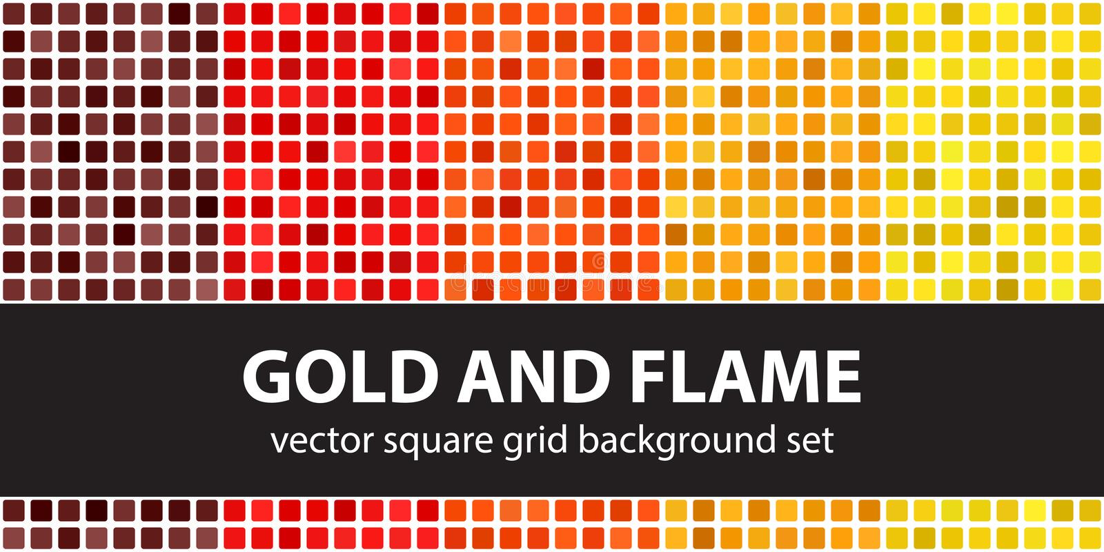 Square pattern set Gold and Flame. Vector seamless tile backgrounds. Maroon, red, orange, gold, yellow rounded squares on white backdrops vector illustration