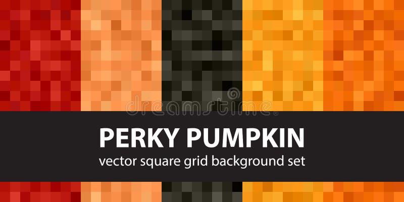 Square pattern set Perky Pumpkin stock illustration