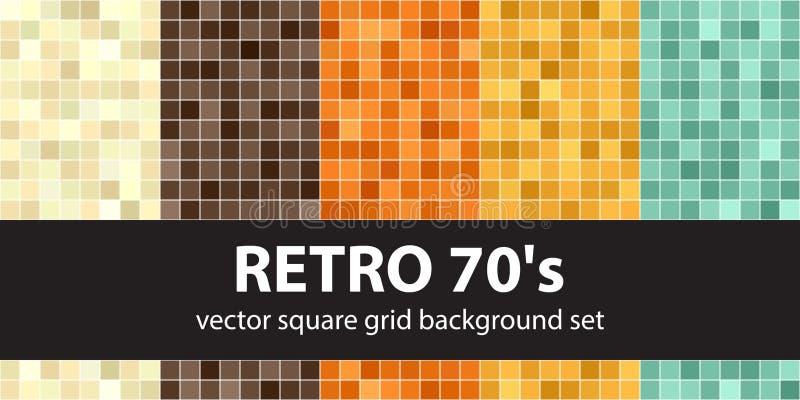 Square pattern set Retro 70s. Vector seamless tile backgrounds vector illustration