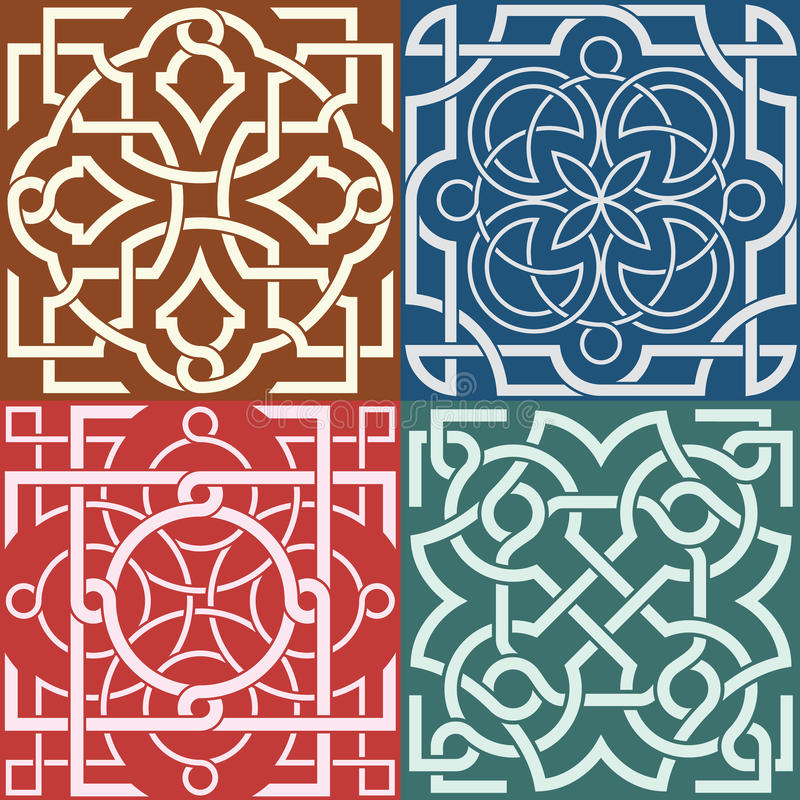 Square patterns-Celtic knot style stock illustration