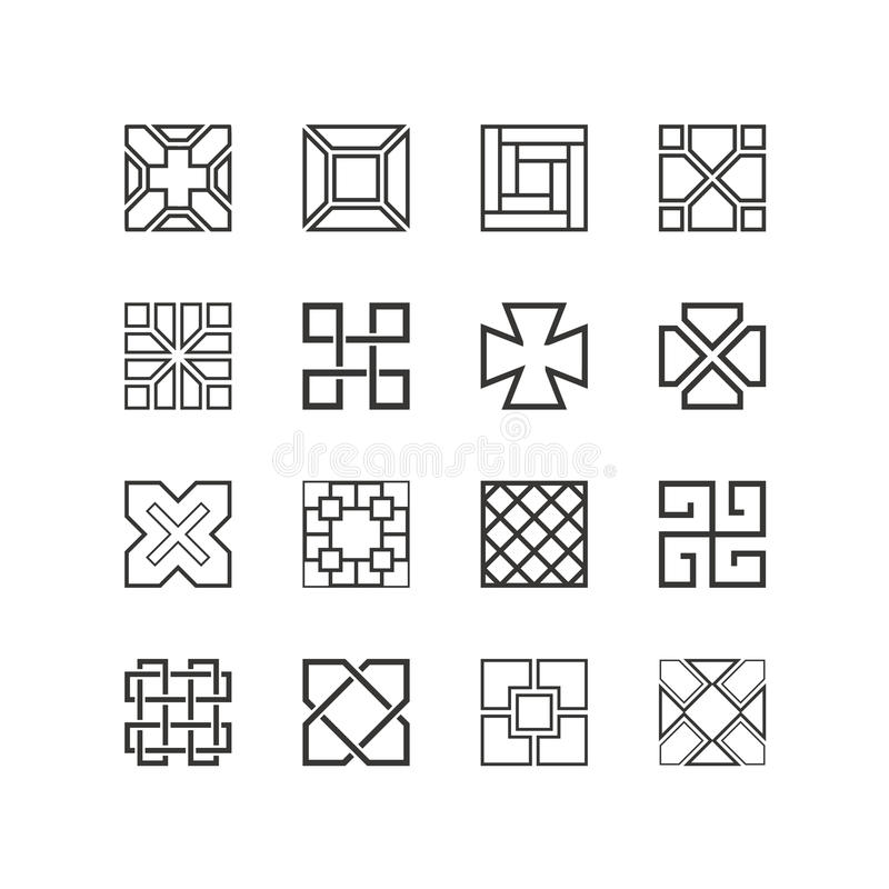Square patterns Collection of China style stock illustration