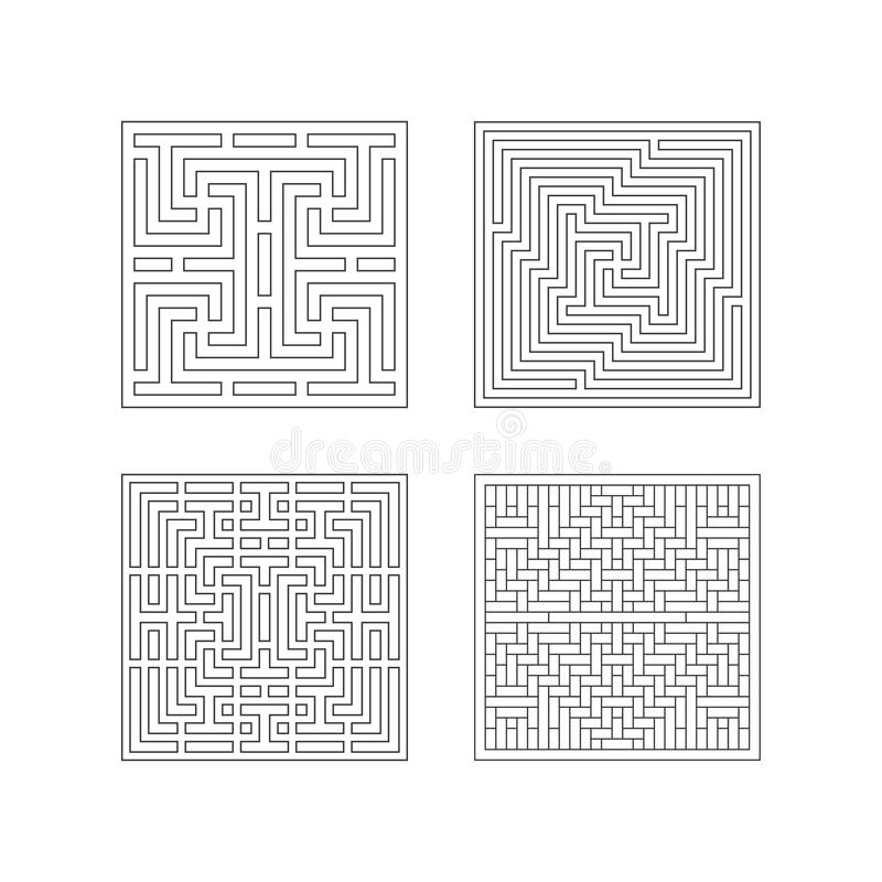 Square patterns Collection of China style royalty free illustration