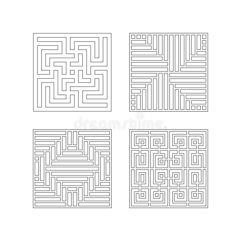 Square patterns Collection of China style vector illustration