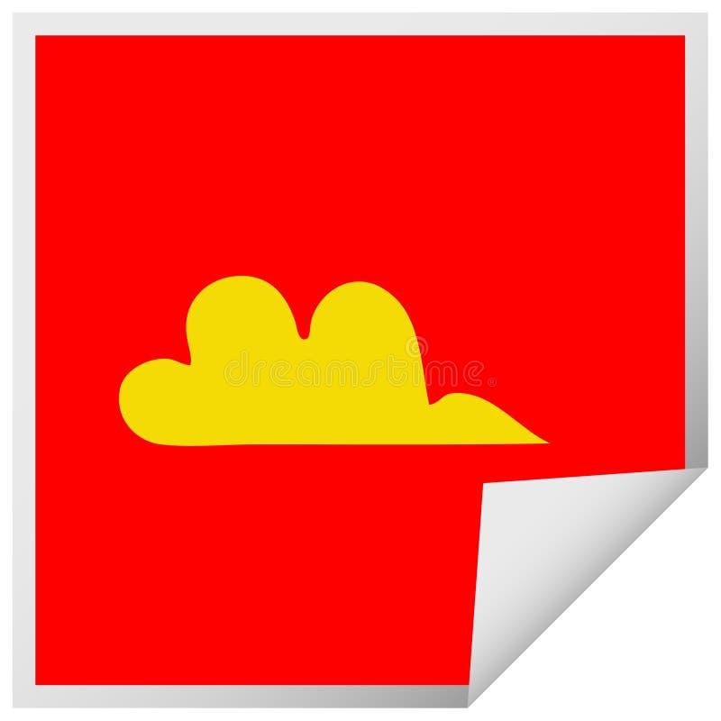 Square peeling sticker cartoon cloud vector illustration