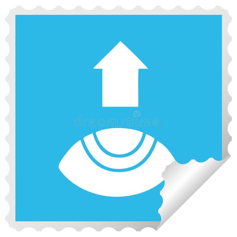 Square peeling sticker cartoon eye looking up vector illustration