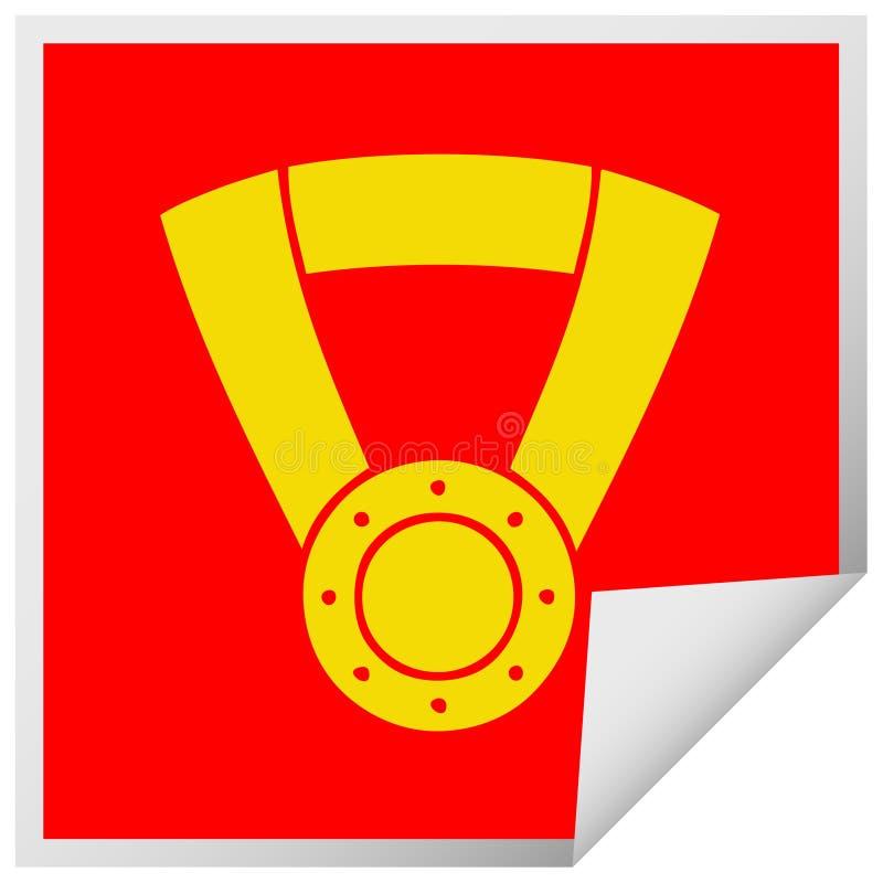 square peeling sticker cartoon gold medal vector illustration