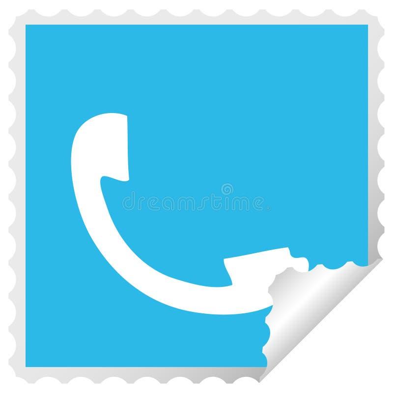 square peeling sticker cartoon telephone receiver vector illustration