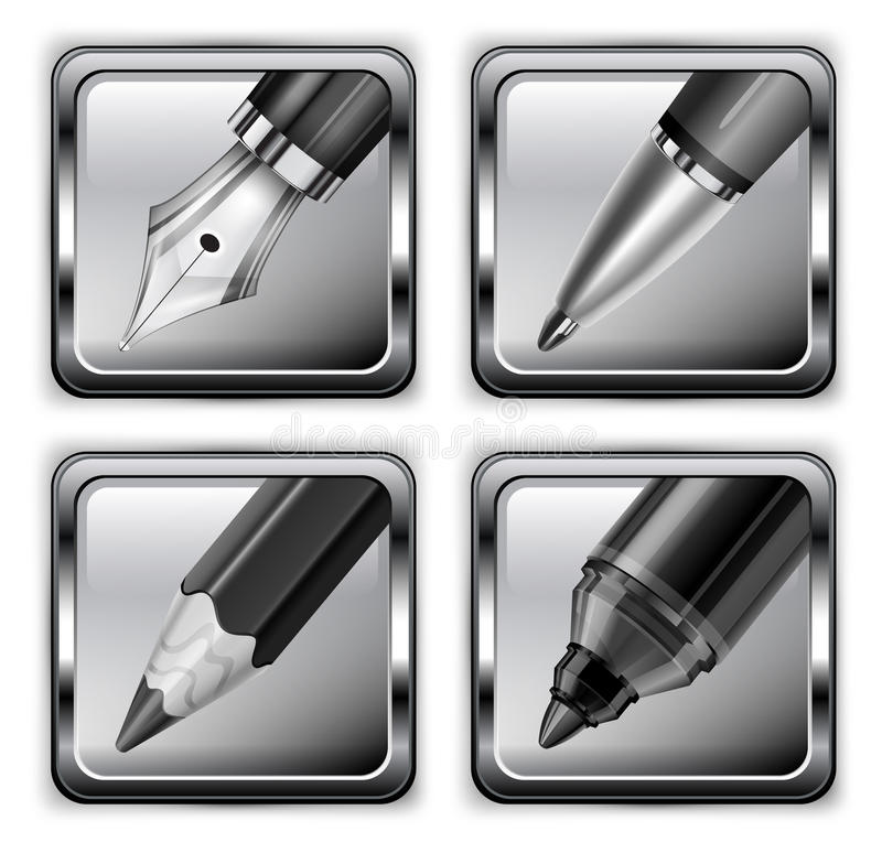 Download Square pen icons stock vector. Image of icon, creative - 28093401