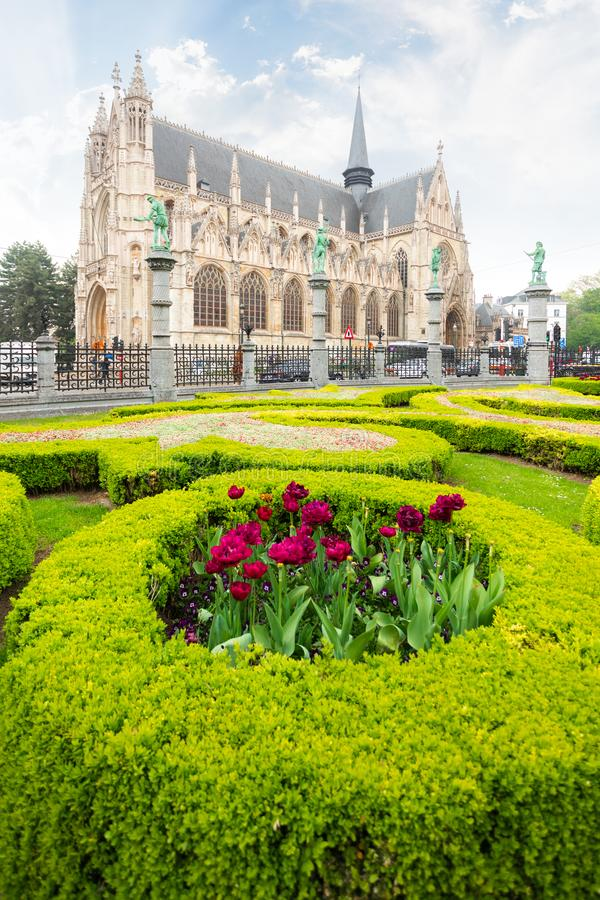 Square of Petit Sablon in Brussels, Belgium. Church of Our Lady of Victory in Sablon or Eglise catholique Notre-Dame-du-Sablon at the Square of Petit Sablon in stock photography