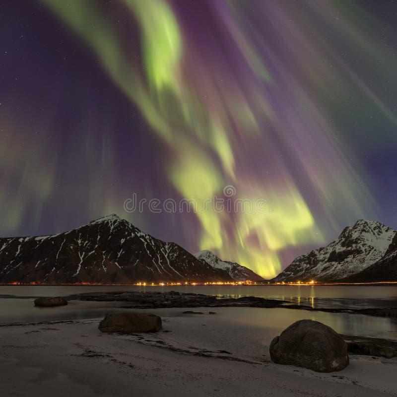 Download Square Photo Of Aurora Borealis, Lofoten, Norway. Stock Image - Image of nightscape, color: 108986501