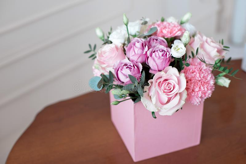 Square Pink Flower box with Fresh Rose stock images