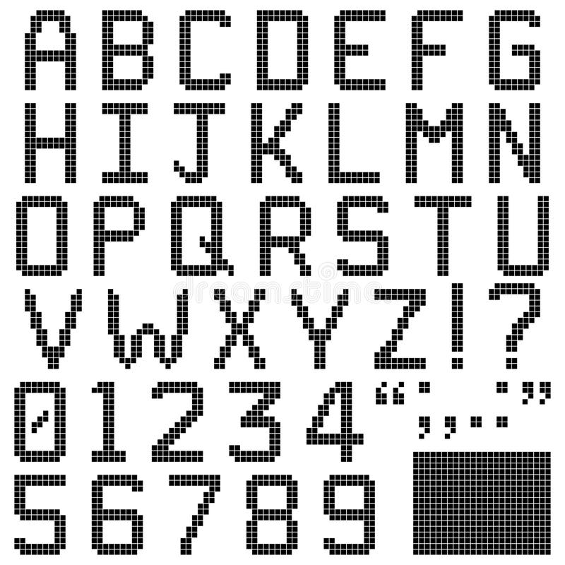 Square Pixel Font Stock Vector. Illustration Of Numbers