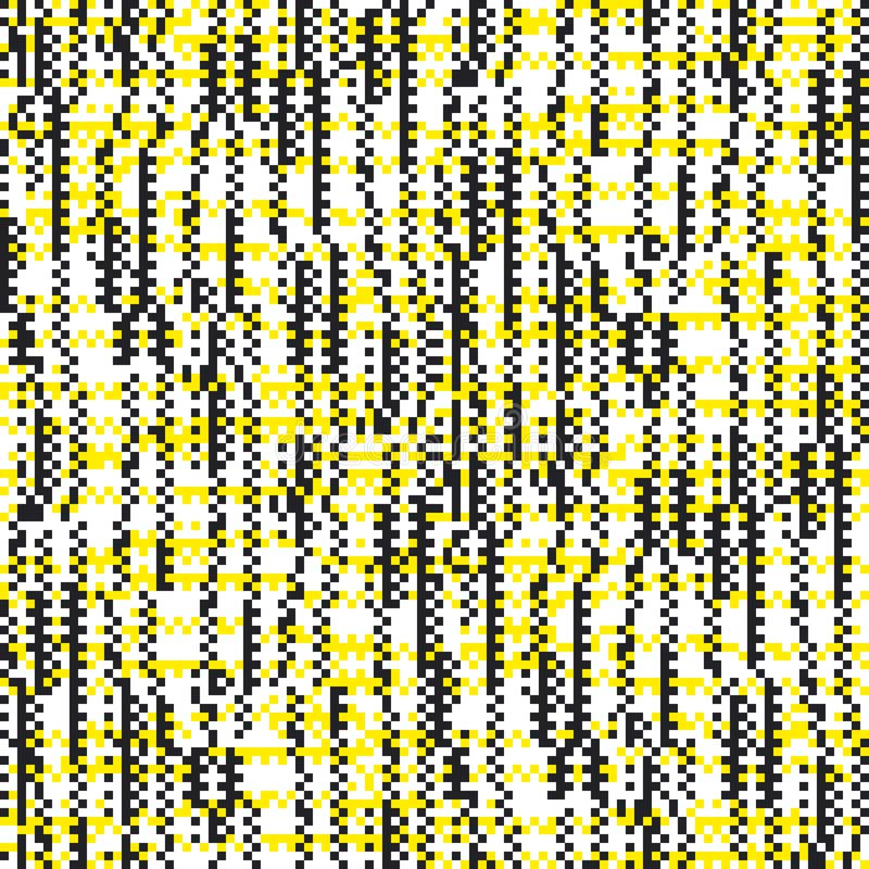 Square pixel seamless pattern with glitch effect stock illustration